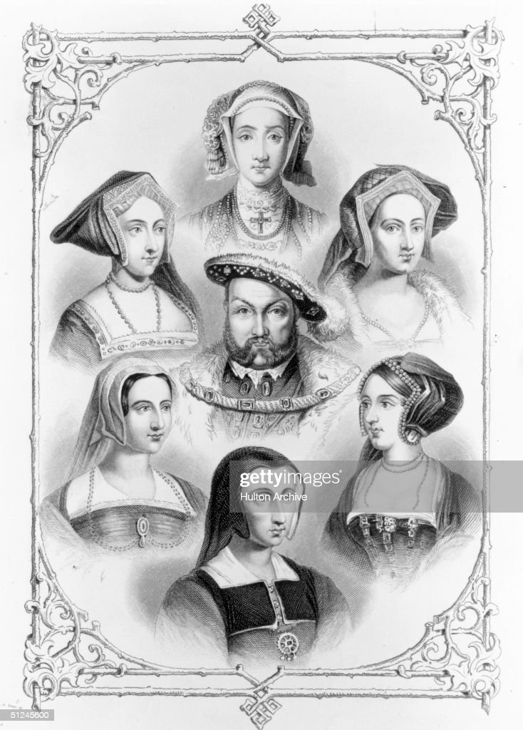Circa 1530, Henry VIII surrounded by his six wives, clockwise from top, Anne of Cleves, <a gi-track='captionPersonalityLinkClicked' href=/galleries/search?phrase=Catherine+Howard&family=editorial&specificpeople=236493 ng-click='$event.stopPropagation()'>Catherine Howard</a>, Anne Boleyn, Catherine of Aragon, <a gi-track='captionPersonalityLinkClicked' href=/galleries/search?phrase=Catherine+Parr&family=editorial&specificpeople=233869 ng-click='$event.stopPropagation()'>Catherine Parr</a> and <a gi-track='captionPersonalityLinkClicked' href=/galleries/search?phrase=Jane+Seymour+-+Nobildonna&family=editorial&specificpeople=79378 ng-click='$event.stopPropagation()'>Jane Seymour</a>.