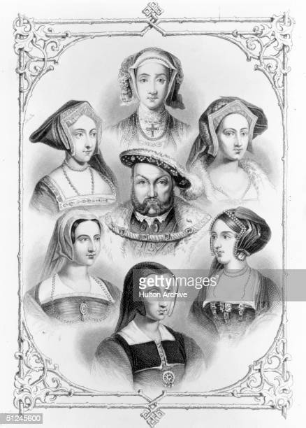 Circa 1530 Henry VIII surrounded by his six wives clockwise from top Anne of Cleves Catherine Howard Anne Boleyn Catherine of Aragon Catherine Parr...