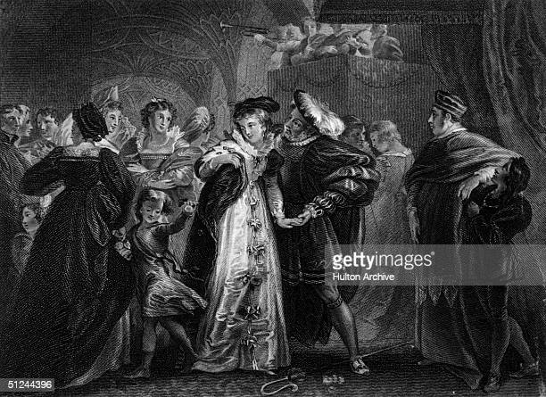 Circa 1530 The first meeting of King Henry VIII of England and Anne Boleyn an English noblewoman who was to be the king's second wife