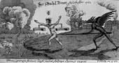 Circa 1550 A winged devil with a spear goads a damned soul towards the fiery river Cocytus in Hell Original Artwork An engraving by W Stukeley