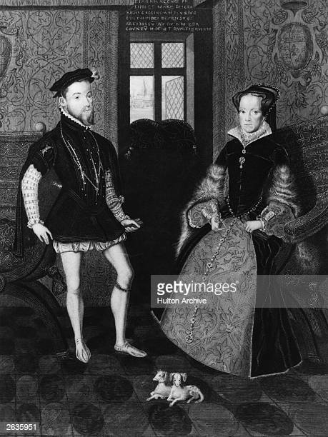 Circa 1554 Philip II king of Spain from 1556 with Queen Mary I of England they married in 1554 Original ArtworkEngraved by Joseph Brown after the...