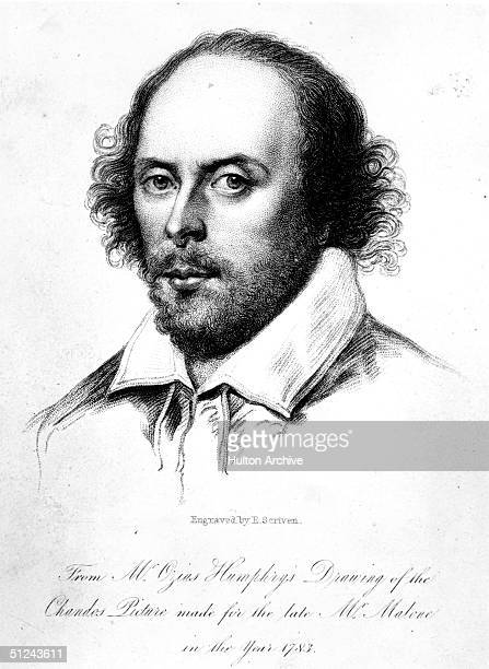 Circa 1590 English dramatist William Shakespeare engraved by E Scriven after Humphrey's drawing known as the 'Chandos portrait'