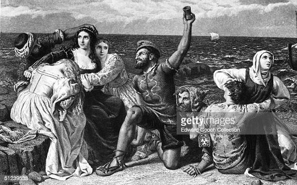 Circa 1600 Mediterranean pirates playing dice for prisoners Engraved by Ridgway from a painting by Richard Pickersgill RA