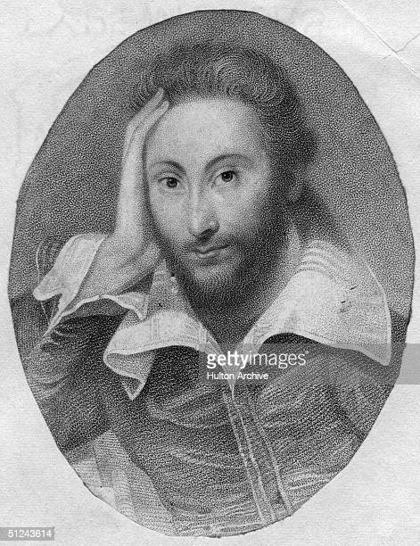 Circa 1610 Portrait of the English poet and dramatist William Shakespeare