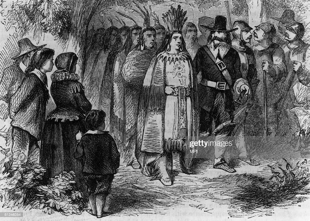 Circa 1621 Massasoit or Ousamequin chief of the Wampanoag of Massachusetts and Rhode Island pays a friendly visit to the Pilgrims' camp at Plymouth...