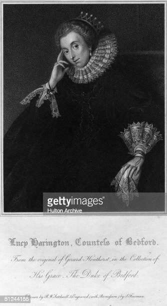 Circa 1625 Lucy Countess of Bedford nee Lucy Harrington wife of Edward Russell 3rd Earl of Bedford She was a patroness of Ben Jonson Original Artwork...