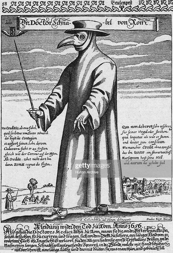Circa 1656 A plague doctor in protective clothing The beak mask held spices thought to purify air the wand was used to avoid touching patients...