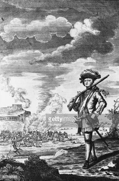 Circa 1666 A portrait of Henry Morgan standing before Panama while his men sacked the city a crime for which he was tried for in 1672 Engraving by G...