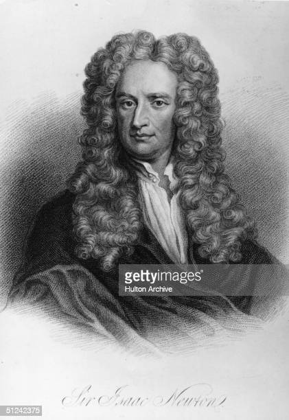 Circa 1675 Sir Isaac Newton the English physicist and mathematician who was knighted by Queen Anne in 1705 Original Artwork Engraving by Freeman...