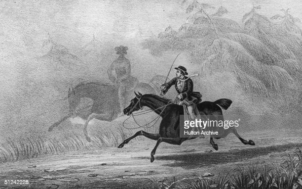 Circa 1730 Notorious highwayman Dick Turpin makes his famous ride from London to York on his horse Black Bess in order to establish an alibi for one...