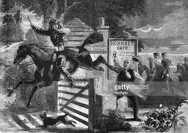 Circa 1735 English highwayman Dick Turpin clearing Hornsey Gate on his horse