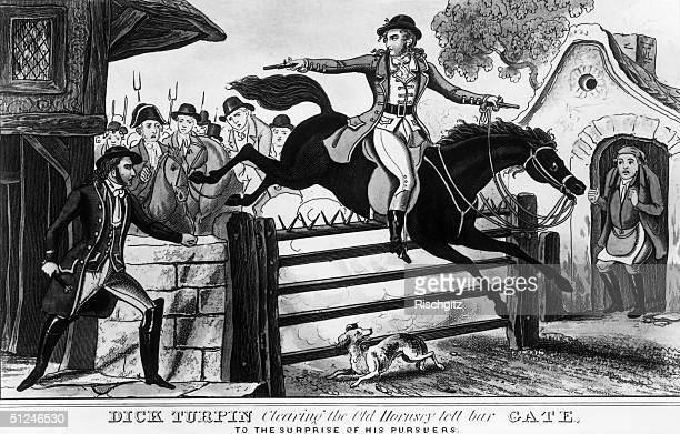 Circa 1735 English highwayman Dick Turpin clears the old Hornsey toll bar gate leaving his surprised pursuers behind