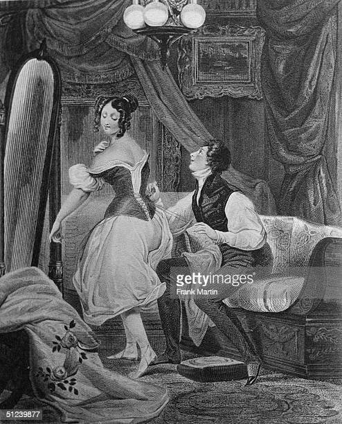 Circa 1750 A man helps his partner to dress by lacing her whalebone corset