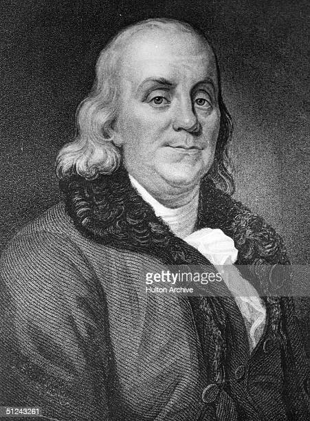 Circa 1750 Benjamin Franklin American statesman writer and scientist Original Artwork Engraving by J Thomson from an original picture by JA Duplesois