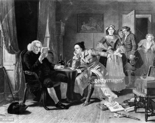 English writer Samuel Johnson rescues Irish playwright Oliver Goldsmith from his landlady and scans the manuscript for 'The Vicar of Wakefield'...