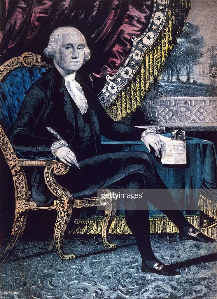 American General George Washington the first President of the United States Original Artwork Engraving by Nathaniel Currier