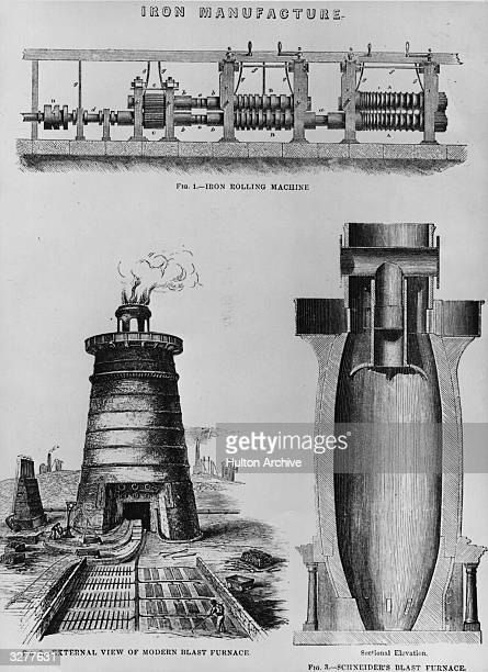 Aspects of the manufacture of iron incliuding an iron rolling machine an external view of a blast furnace and a crosssection of Schneider's blast...