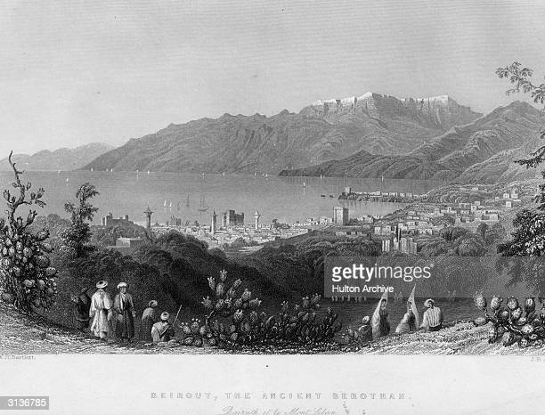 The ancient Berothah in Beirut Original Artwork Engraved by J B Allen after a drawing by W H Bartlett