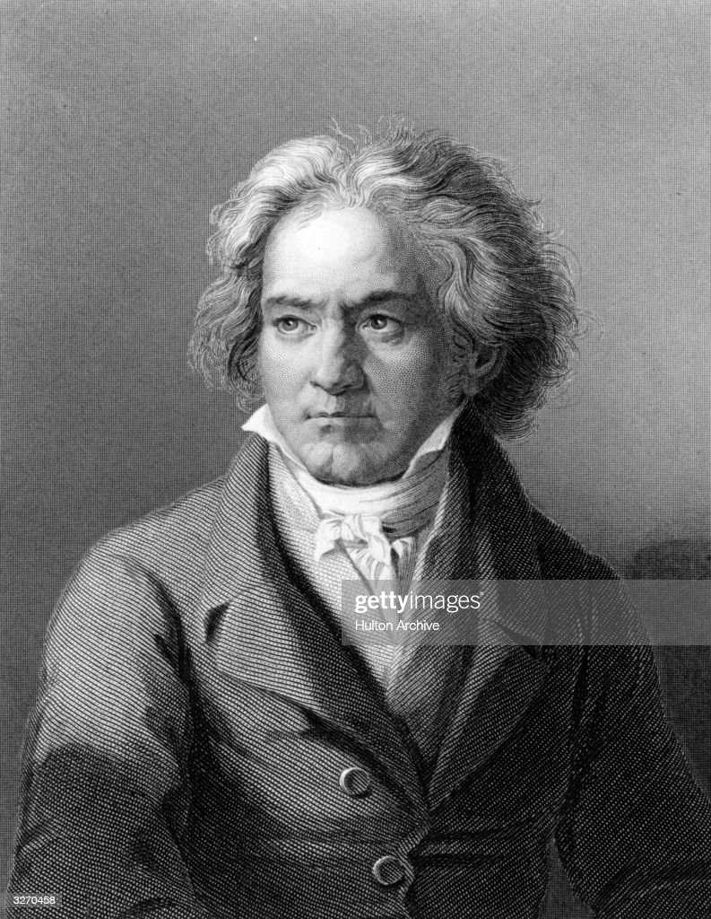 German composer and pianist <a gi-track='captionPersonalityLinkClicked' href=/galleries/search?phrase=Ludwig+van+Beethoven&family=editorial&specificpeople=67202 ng-click='$event.stopPropagation()'>Ludwig van Beethoven</a> (1770 - 1827). Original Artwork: Engraving after painting by Kloeber