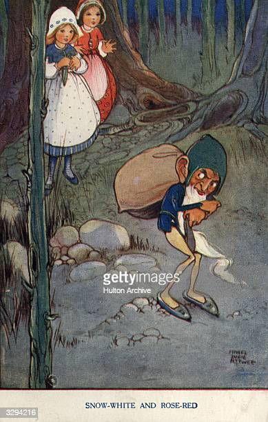 A postcard showing Snow White and Rose Red in the forest from the fairy tale by the brothers Grimm Raphael Tuck Sons Grimm's Fairy Tales Series No...