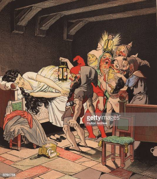 The seven dwarves find Snow White asleep in their bedroom from the fairy tale by the brothers Grimm