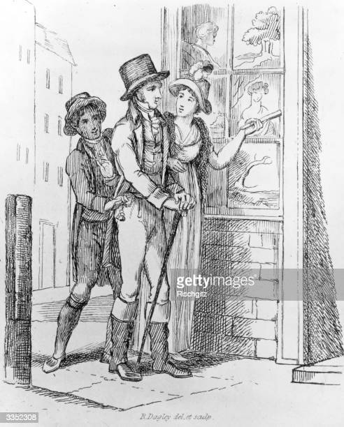 A couple look in a shop window while a pickpocket removes the man's watch Illustration Taking Time R Dagley
