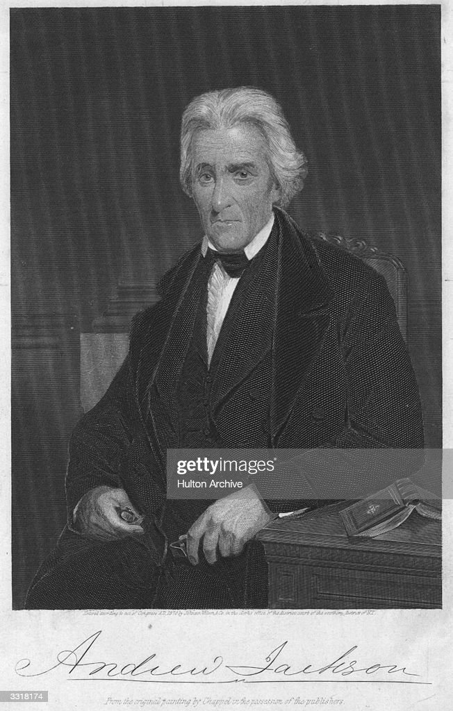 A portrait of <a gi-track='captionPersonalityLinkClicked' href=/galleries/search?phrase=Andrew+Jackson+-+US+President&family=editorial&specificpeople=99326 ng-click='$event.stopPropagation()'>Andrew Jackson</a> (1767 - 1845), the 7th President of the United States.