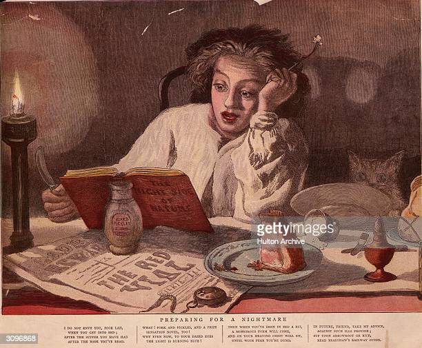A young man dines late upon pork pie and pickles whilst reading a sensational novel entitled 'The Night Side of Nature' The poem beneath is an...
