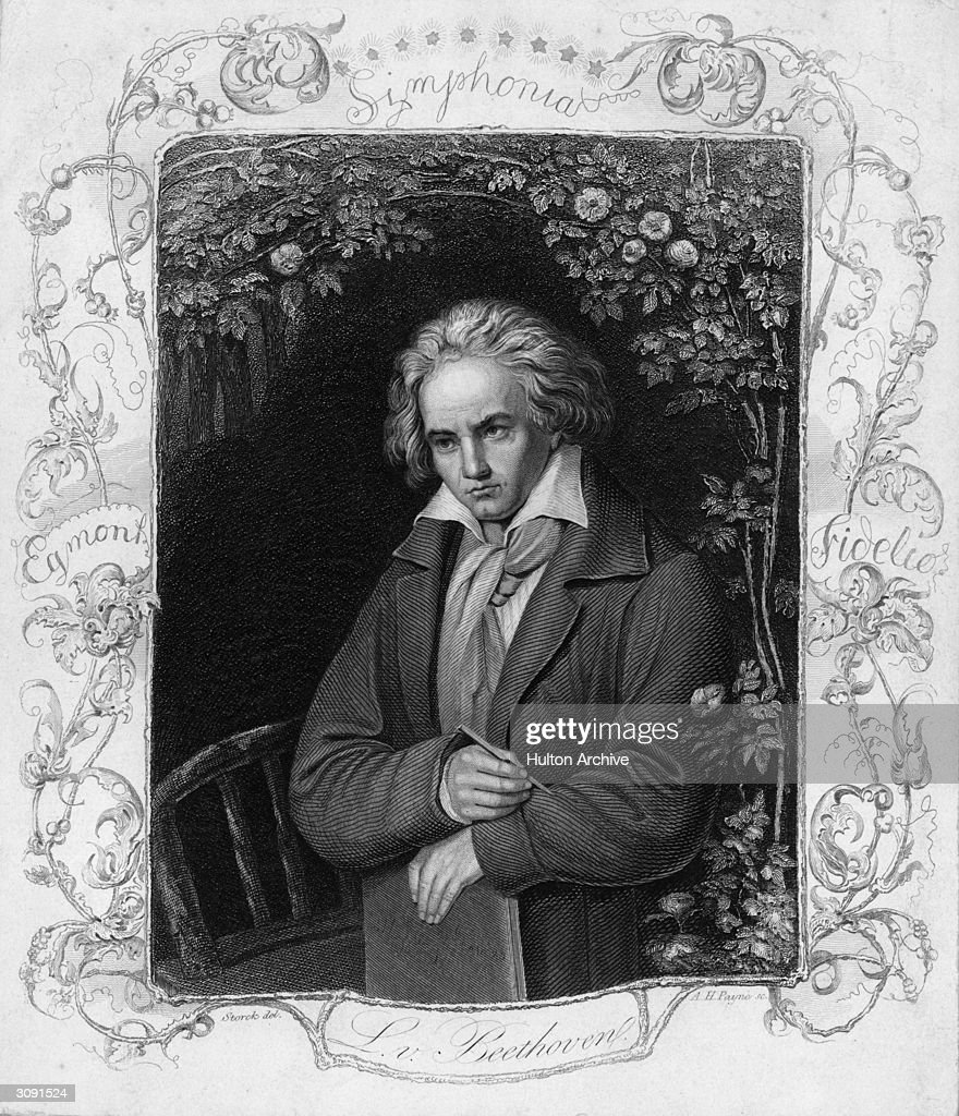 German composer <a gi-track='captionPersonalityLinkClicked' href=/galleries/search?phrase=Ludwig+van+Beethoven&family=editorial&specificpeople=67202 ng-click='$event.stopPropagation()'>Ludwig van Beethoven</a> (1770 - 1827). Original Artwork: Engraving by A H Payne after Storck.