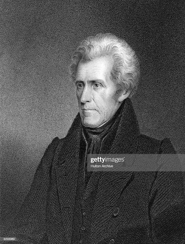 Portrait of <a gi-track='captionPersonalityLinkClicked' href=/galleries/search?phrase=Andrew+Jackson+-+US+President&family=editorial&specificpeople=99326 ng-click='$event.stopPropagation()'>Andrew Jackson</a> (1767-1845), seventh President of the United States, who served for two terms from 1829 to 1837. The self-taught lawyer, known as 'Old Hickory,' forced much of the Native-American population from the Eastern U.S. into Western territories.