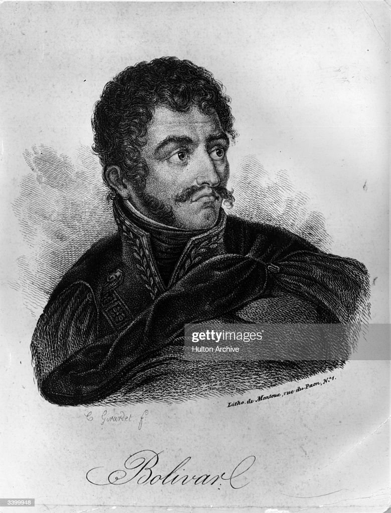 South American soldier and statesman <a gi-track='captionPersonalityLinkClicked' href=/galleries/search?phrase=Simon+Bolivar&family=editorial&specificpeople=151017 ng-click='$event.stopPropagation()'>Simon Bolivar</a> (1783 - 1830), known as the liberator, he became President of Peru.