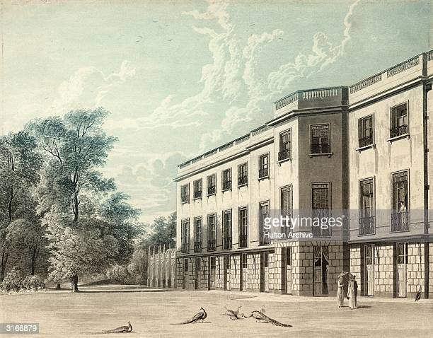 The south front of Carlton House on Pall Mall London designed by John Nash Peacocks wander about on the lawn Original Artwork Engraving by R Reeve...