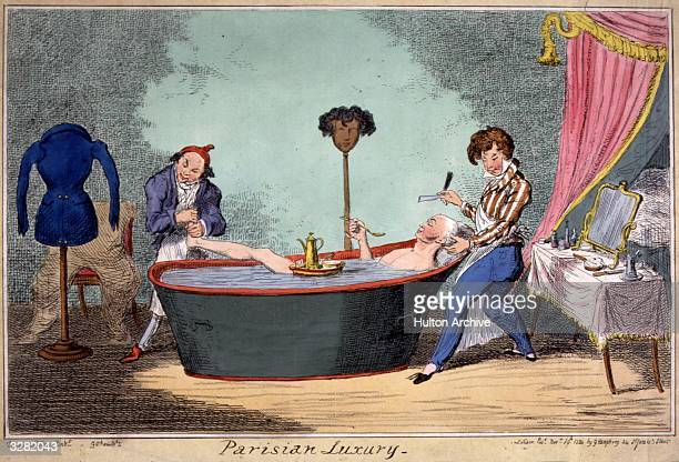A Parisian gentleman takes a bath attended by his barber and manicurist George Cruikshank