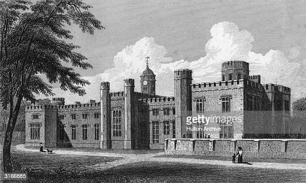 The exterior of Rugby School in Warwickshire a secondary school for boys founded in 1567 Original Artwork Engraving by T Radclyffe