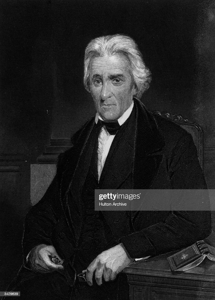 <a gi-track='captionPersonalityLinkClicked' href=/galleries/search?phrase=Andrew+Jackson+-+US+President&family=editorial&specificpeople=99326 ng-click='$event.stopPropagation()'>Andrew Jackson</a> (1767 - 1845) 7th President of the USA. Known as 'Old Hickory'. Daguerreotype taken from life. Engraving by Alonzo Chappel