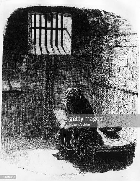 Fagin sits alone in the condemned cell after his capture by the police in Charles Dickens' 'Oliver Twist' Original Artwork Engraving by George...