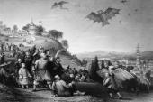 Kite flying at Hai Kwan on the ninth day of the ninth moon The kites are in the form of birds and dragons Original Artist Thomas Allom Engraving...