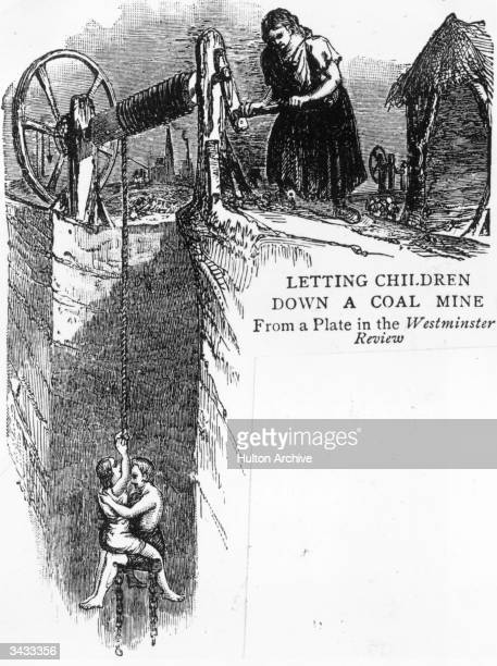 Two children being lowered down a coalmine From a plate in the Westminster Review