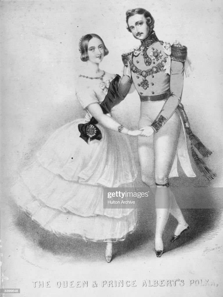 Victoria, queen of the United Kingdom of Great Britain and her husband <a gi-track='captionPersonalityLinkClicked' href=/galleries/search?phrase=Prince+Albert+-+Husband+of+Queen+Victoria&family=editorial&specificpeople=92392 ng-click='$event.stopPropagation()'>Prince Albert</a> of Saxe-Coburg-Gotha dancing a polka to music composed for them.