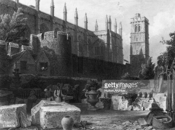 New College chapel and tower with stonemasons at work in the grounds Original Publication The Old City Ditch pub 1843 Engraving William Radclyffe