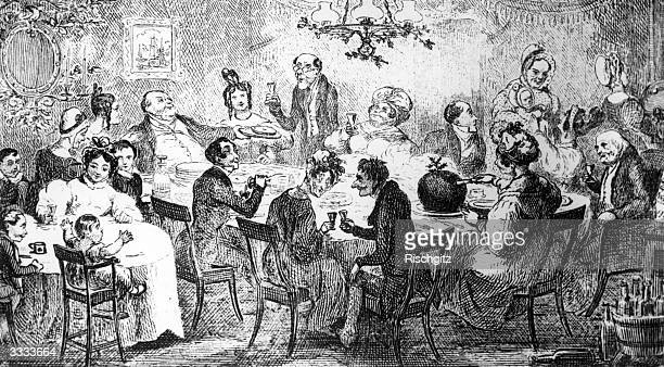 A family enjoying Christmas dinner The mother is cutting a large Christmas pudding while the children and their governess watch from a side table...