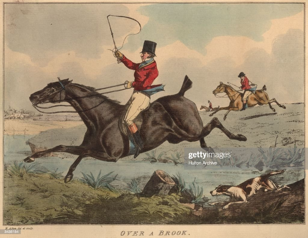 A horseman crosses over a small brook in full cry during a fox hunt. An engraving by Henry Alken