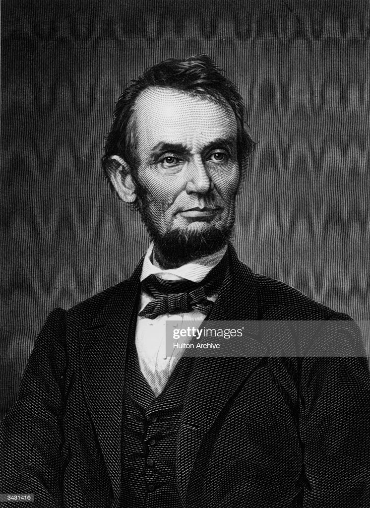 Abraham Lincoln (1809 - 1865), the sixteenth president of the United States who abolished slavery and steered the Union to victory in the American Civil War.