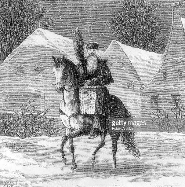Engraving of St Nicholas carrying a tiny Christmas tree in a basket while riding a horse past houses in the snow midtolate nineteenth century