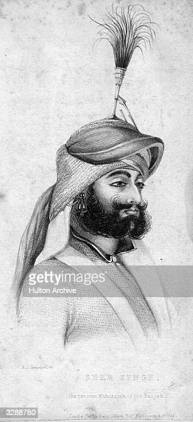 Shere Singh Maharajah of the Punjab Sikh leader in a plummed headdress