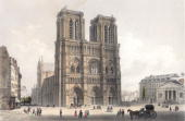 The cathedral of Notre Dame situated on the Ile de la Cite in Paris Original Artwork Drawn and engraved by Deroy