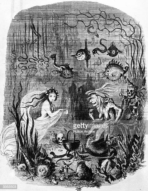The little mermaid visits the Old Witch of the Sea to ask her to transform her into a human being An illustration from the Hans Christian Anderson...