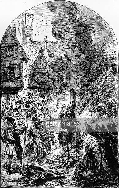 Faithful is burnt at the stake to the delight of the crowds A woodcut by George Cruikshank from Milton's 'The Pilgrim's Progress published in The...