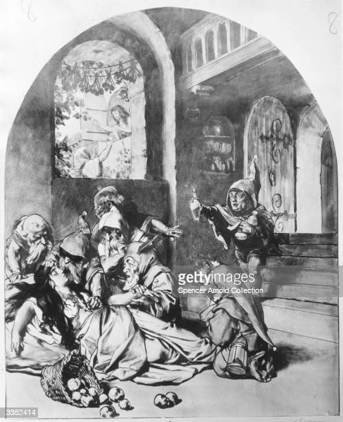 The Seven Dwarves return to find Snow White unconscious after accepting the gift of a poisoned apple from a visiting crone