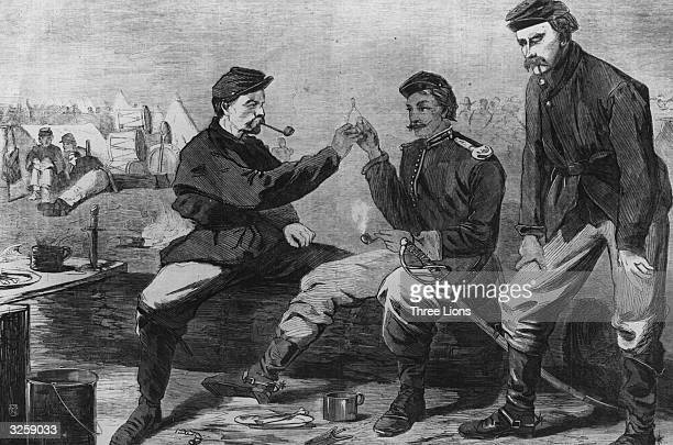 Two soldiers break a wishbone after a Thanksgiving dinner during the Civil War both of them hoping for peace